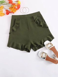 ((Affiliate Link)) Description Style:	Boho Color:	Army Green Pattern Type:	Plain Details:	Ruffle, Ruffle Hem, Zipper Type:	Wide Leg Season:	Summer Composition:	65% Cotton, 35% Polyester Material:	Cotton Fabric:	Slight Stretch Sheer:	No Fit Type:	Regular Waist Type:	Mid Waist Closure Type:	Zipper Fly