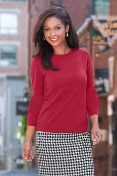 Scalloped Neck Sweater - also in black and ivory