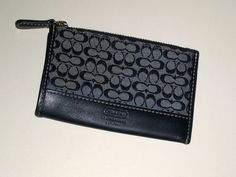 I'm auctioning '2 COACH Navy Blue Signature Mini Jacquard Skinny Wallet EUC ' on #tophatter