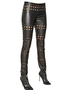 cut-out stretch leather pants worth f.w2013 luisviaroma