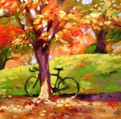 The Bike by Krista Eaton 6x6 oil on gesso board