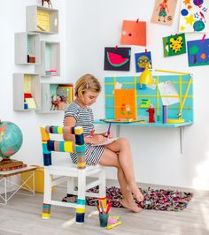A wall-mounted kids' desk is easy to build and is a great space saver!