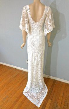 Boho WEDDING Dress Off White vintage LACE Wedding by MuseClothing, $368.00