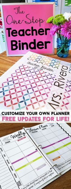 Teacher binder organization just got better! This One Stop teacher binder has everything you need for classroom organization. This teacher plan book has lesson plan templates, 60+ planner covers to choose from, lots of classroom forms, calendars, and more! Love that it is EDITABLE with FREE updates for LIFE! Lesson plans will never be boring again!   Teacher Binder   One Stop Teacher Binder   Classroom Organization   Lesson Plan Templates   Teacher Binder Covers   Classroom Forms