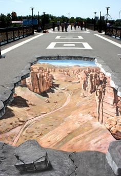 Pseudo 3d Chalk Street Art: I just love these. Isn't amazing how the artist can bring these 3D images to life? http://www.authorsarafhathaway.com