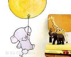 Del globo elefante--Etiqueta de la pared