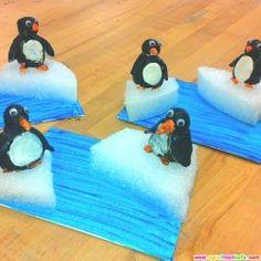 Sünger ve kağıtlardan penguen yapımı