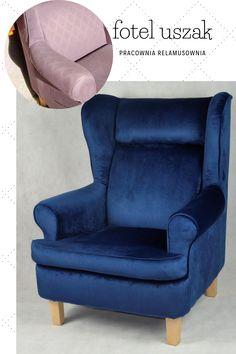 Fotelowi nadano nowy wygląd poprzez zmianę tapicerki, w tym celu użyto miękkiej tkaniny meblowej - weluru Fresco.  Odnowieniu także zostały poddane nóżki, całość tworzy przyjemny w dotyku mebel do wypoczynku. #foteluszak #welurfotel #pracowniarelamusownia Accent Chairs, Armchair, Furniture, Home Decor, Upholstered Chairs, Sofa Chair, Single Sofa, Decoration Home, Room Decor