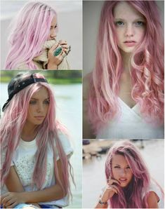 chic and funky pink hairstyle with 20 inch pink hiar extensions for thin hair