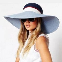 Blue color block floppy straw sun hat for women summer beach hats