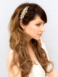 "Our ""Brooklyn"" hair comb is lovingly hand crafted using the highest quality rhinestones and authentic freshwater pearls.  Choose Silver or Gold"