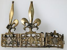 Date: 14th century Culture: French Medium: Gilt-copper, silver Dimensions: Overall: 3 3/4 x 5 3/16 x 7/8 in. (9.5 x 13.1 x 2.2 cm)