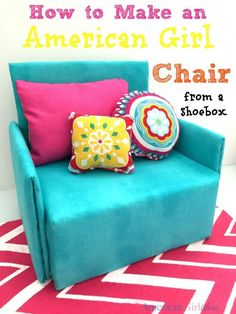 How to Make a Doll Chair from a shoebox. What a brilliant DIY for American Girl doll accessories. How to Make a Doll Chair from a shoebox. What a brilliant DIY for American Girl doll accessories. Sewing Dolls, Ag Dolls, Girl Dolls, Dress Sewing, Sewing Clothes, Barbie Dolls, American Girl Furniture, Girls Furniture, Doll Furniture