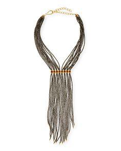 Pyrite Beaded Fringe Necklace
