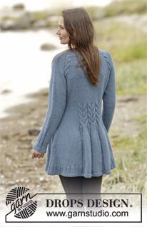 "Renaissance - Knitted DROPS fitted jacket with cables, raglan and edges in garter st, worked top down in 2 strands ""Alpaca"". Size: S - XXXL. - Free pattern by DROPS Design"