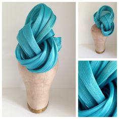 Turquoise silk abaca twirl by Murley  & Co Millinery - available now $290  www.facebook.com/murleyandcomillinery  www.murleyandco.com 0422 029 149