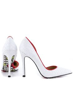 Cherrybomb - White Contrast Trim Textured Pointy D'Orsay Pumps Heels @ Shop Lately $150 CUTE