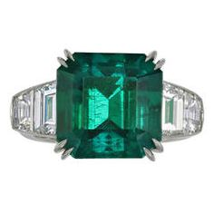 7.28ct Colombian Emerald Diamond Ring
