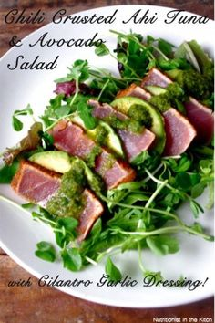 This is divine Chili Crusted Ahi Tuna & Avocado Salad with Cilantro Garlic Dressing (GF!) … and Fave Five Friday: Healthy Tuna Recipes! Healthy Tuna Recipes, Fish Recipes, Seafood Recipes, Healthy Eating, Cooking Recipes, Recipies, Ahi Tuna Recipe, Avocado Tuna Salad, Butter Chicken
