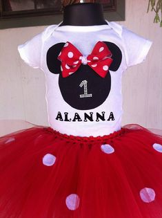 Minnie Mouse Inspired Red and White Polka Dot Custom Birthday Onesie or Shirt and Tutu Skirt Set - Mini Mouse tutu