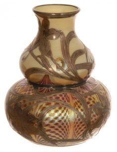 """UNIQUE 5 1/2"""" SIGNED QUEZAL DECORATED ART GLASS DOUBLE"""