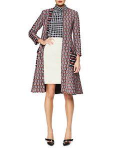 -5YUU Oscar de la Renta Checked Tweed Long Coat, Stand-Collar Grid-Print Blouse & Double-Faced Cashmere-Blend A-line Skirt