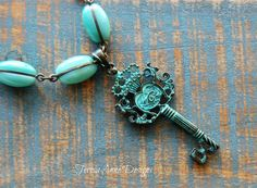 Antique Key Statement Necklace Turquoise and by TeresaAnneDesigns