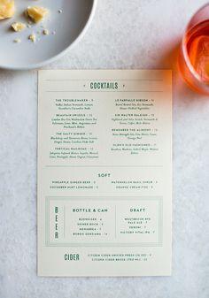 restaurant branding Le Farfalle Branding, Print and Web Design by Outline - Grits + Grids Cocktail Menu Design, Menu Cocktail, Cafe Menu Design, Restaurant Menu Design, Restaurant Branding, Restaurant Restaurant, Drink Menu Design, Blog Design Inspiration, Design Blog