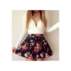 Sexy Deep V Floral Long Sleeve Mini Dress (150 CNY) ❤ liked on Polyvore featuring dresses