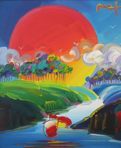 """Original Painting """"Without Borders X"""" by Peter Max"""