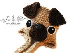 The Pugfect Pug Hat -  Handmade Crochet Puppy Dog Hat  -  Made to Order for Teens - Adults Medium