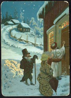 BLOCH. A: Kartongkort. Julebukker banker på døra (Kr.a. Lith. AB
