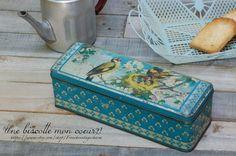 Bte métal décor oiseaux #etsy#brocante#vintage#fleamarket#boite en métal#metal tin box