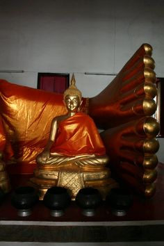 One of the many many temples in Bankok, Thailand. Sleeping Buddha.