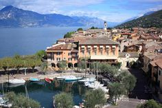 Our room with a lake view, Hotel Gardesana - Torri del Benaco overlooking Lake Garda with panoramic lake views.  Beautiful!