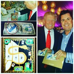 The signed $1 Donald Trump remains in the private collection whilst Top Trumps (Heroes & Villains 2015, bottom left) sold and went to a great home.  Lets see where the presidential race leads with one of the most disruptive faces of all time #heroesvillains #2015dubaidollarproject #onedollarbill #overdrawn #trump #president #artwork #$2 #$1 #history #money #art #society
