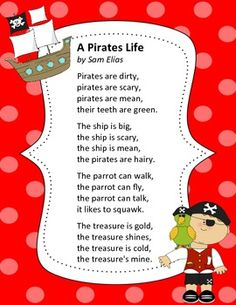 As part of our pirate unit, we're reading this pirate poem and noticing the rhyme and rhythm, plus punctuation marks and vocabulary.  Enjoy!