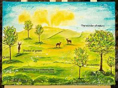 Hello friends! I have a spring canvas to share with you today, with fun and easy mixed media and stamping techniques. You can use the techni... Mixed Media Techniques, Mixed Media Tutorials, Forest Scenery, Unicorn And Glitter, Texture Paste, Distressed Painting, Happy Spring, Yellow Painting, Small Trees