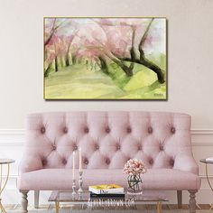 Feminine vintage chic living room with pink cherry blossoms Central Park framed canvas wall art over a dusty pink love seat. Pink and green cherry blossoms painting print by Beverly Brown. Watercolor Paintings For Sale, Pink Painting, Pink Wall Art, Wall Art Prints, Canvas Prints, Large Canvas Wall Art, Canvas Art, Framed Canvas, Art Over Couch