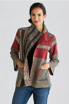 Soho Bamboo Short Jacket by Mieko Mintz (Cotton Jacket - Women Kimono Jackets - Ideas of Women Kimono Jackets - Soho Bamboo Short Jacket: Mieko Mintz: Cotton Jacket Sewing Jeans, Sewing Clothes, Sari Fabric, Cotton Jacket, Mode Inspiration, Refashion, Mantel, Ideias Fashion, Cool Outfits