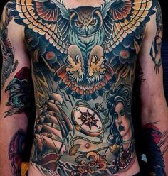 Chest tattoo owl