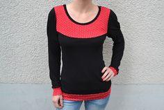 Langarmshirt Jersey schwarz rot Punkte von Jaqueen auf DaWanda.com