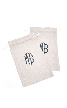 Personalized Set Of 2 Shoe Bags  by JULIA B. COUTURE LINENS Now Available on Moda Operandi