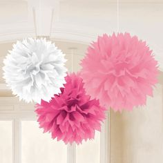 One 3 piece set of 16 inch Girlie Pink Fluffy Tissue Ball Decorations. Each set of Girlie Pink Fluffy Tissue Ball Decorations ships flat, and are easy to open and fluff up. Hang these pretty Girlie Pink Fluffy Tissue Ball Decorations over tables, andGirlie