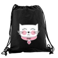 Personalised Black Kit Bag - Cat Face