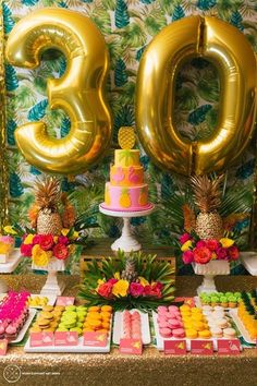 5 Cool Ways to Syle Number Balloons Pretty Little Party Shop - Stylish Party & Wedding Decorations and Tableware Aloha Party, 30th Party, Tiki Party, Festa Party, 30th Birthday Parties, Party Wedding, Party Party, Birthday Celebration, Gold Party