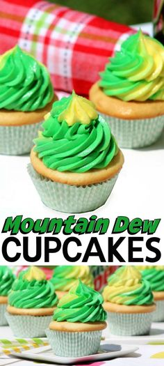 These Mountain Dew Cupcakes with Mountain Dew Frosting are a fun way to incorporate soda into a delicious homemade dessert! These Mountain Dew Cupcakes with Mountain Dew Frosting are a fun way to incorporate soda into a delicious homemade dessert! Mountain Dew Cupcakes, Mountain Dew Cake, Köstliche Desserts, Homemade Desserts, Dessert Recipes, Health Desserts, French Desserts, Plated Desserts, Homemade Frosting