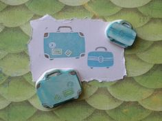 Luggage Rubber Stamp Set Hand Carved by EnchantingStamps on Etsy