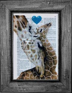 Giraffe heart blue Dictionary Art Print Book Art Print by Printt55