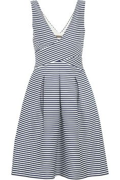 Navy and white striped matte-satin Wrap-effect bodice, pleated, side slit pockets, fully lined Concealed hook and zip fastening at side 100% polyester; lining: 100% polyester Dry clean